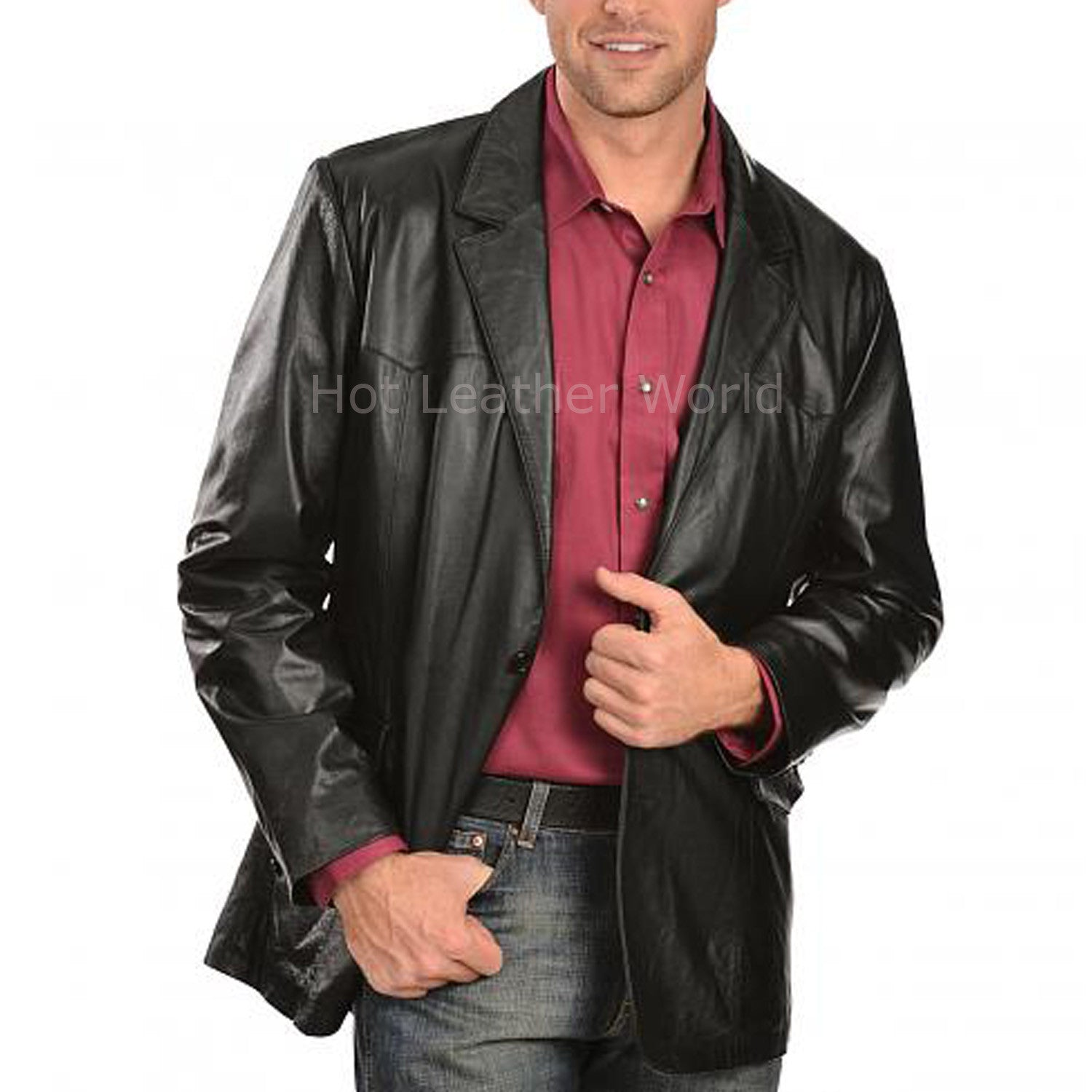 Designer Style Men Leather Blazer -  HOTLEATHERWORLD