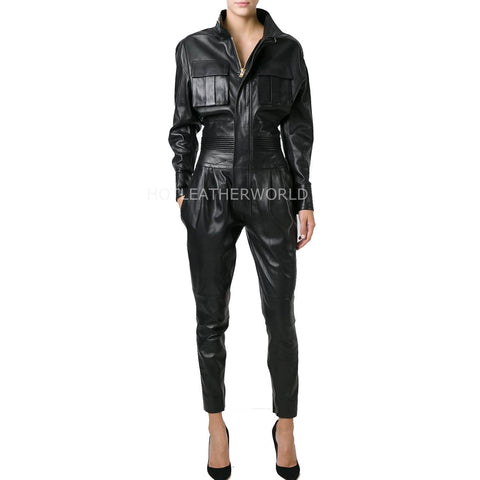 Military Style Women Leather Jumpsuit