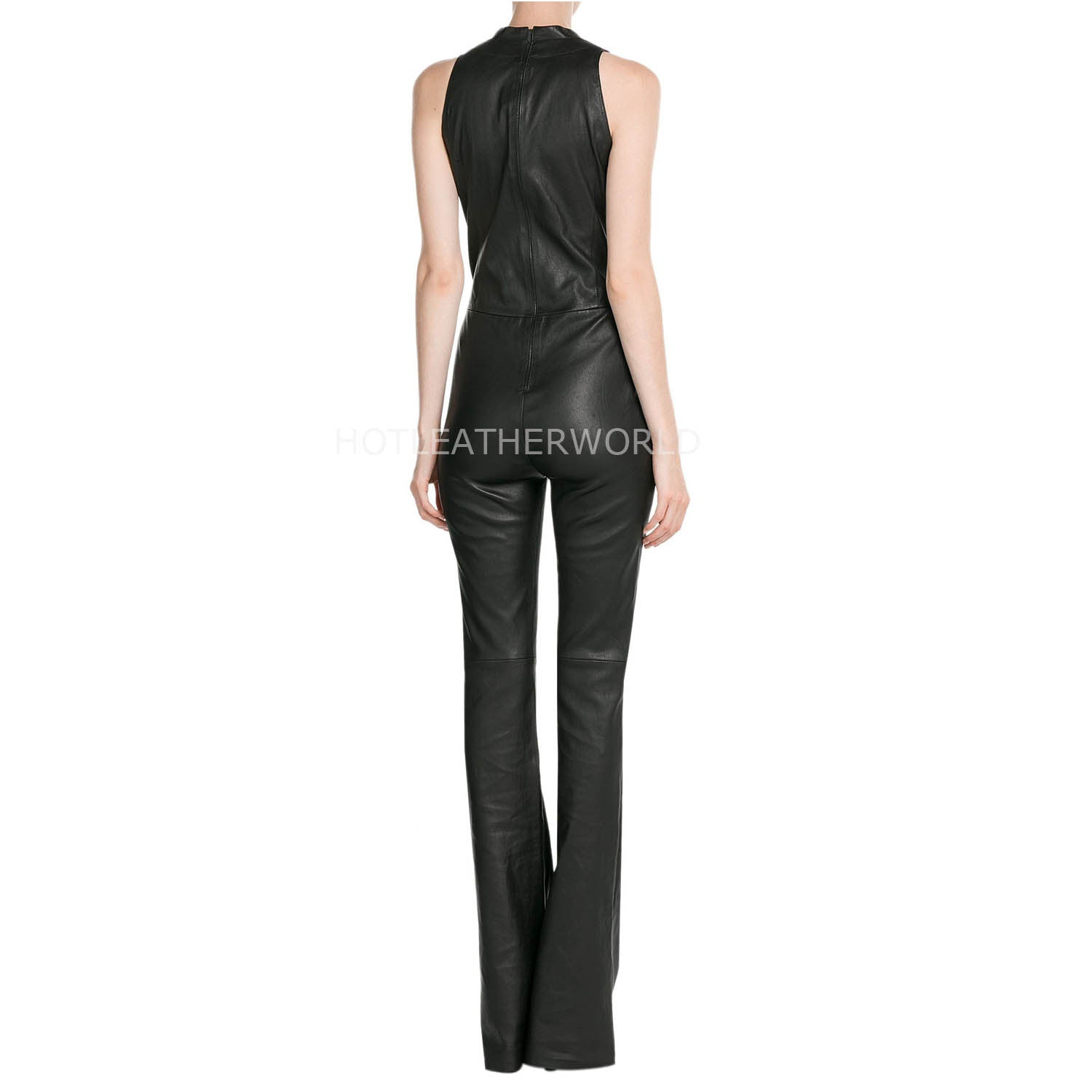 Paneled Sleeveless Women Leather Jumpsuit -  HOTLEATHERWORLD