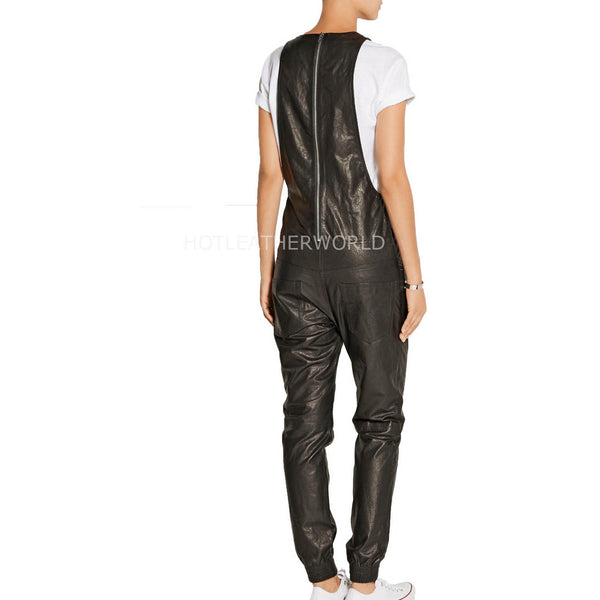 Sportive Look Women Leather Jumpsuit -  HOTLEATHERWORLD