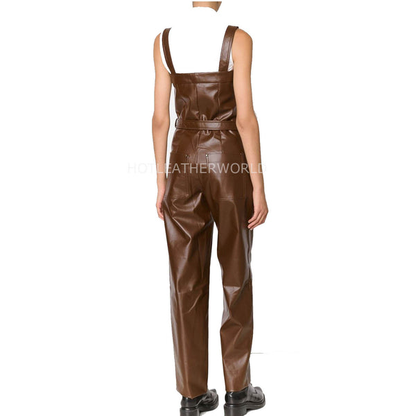 Premium Military Style Women Leather Jumpsuit -  HOTLEATHERWORLD