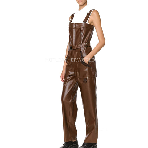 Premium Military Style Women Leather Jumpsuit
