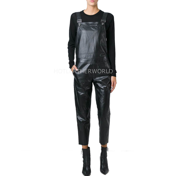 Dungaree Style Women Leather Jumpsuit -  HOTLEATHERWORLD