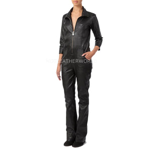 Utility Style Women Leather Jumpsuit -  HOTLEATHERWORLD