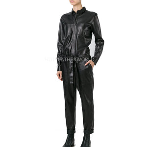 Corporate Look Women Leather Jumpsuit -  HOTLEATHERWORLD