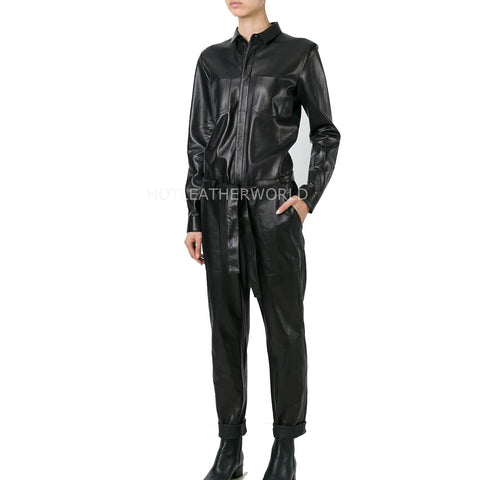 Corporate Look Women Leather Jumpsuit