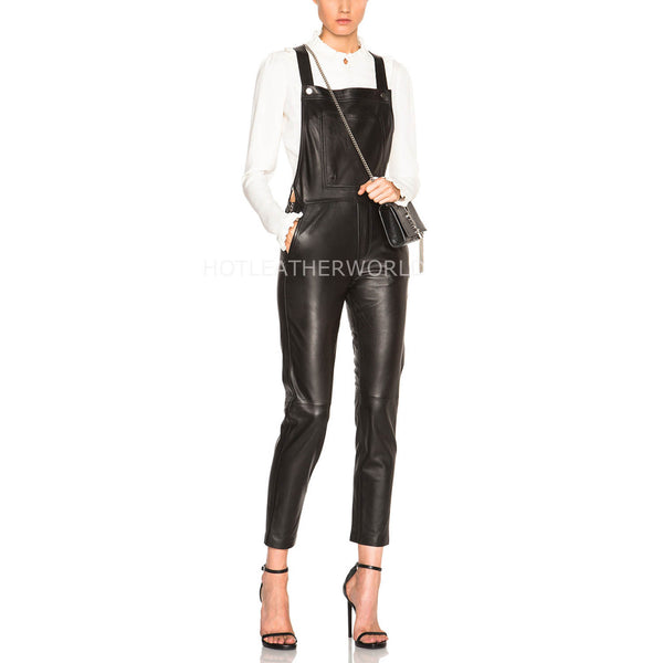 Stylish Capri Length Women Leather Jumpsuit -  HOTLEATHERWORLD