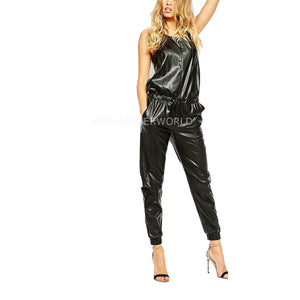Celeb Style Women Leather Jumpsuit -  HOTLEATHERWORLD