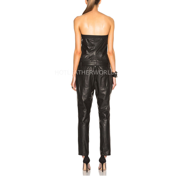 Strapless Style Women Real Leather Jumpsuit -  HOTLEATHERWORLD