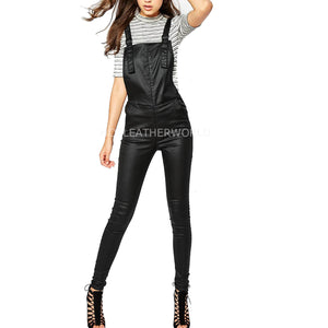 Stunning Teenage Women Leather Jumpsuit -  HOTLEATHERWORLD