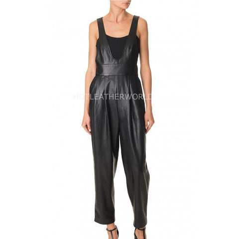 Baggy Style Women Leather Jumpsuit -  HOTLEATHERWORLD