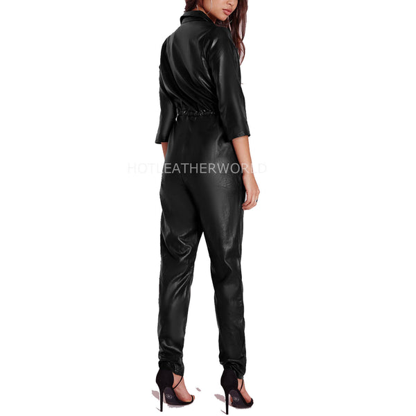 Autumn Special Women Leather Jumpsuit -  HOTLEATHERWORLD