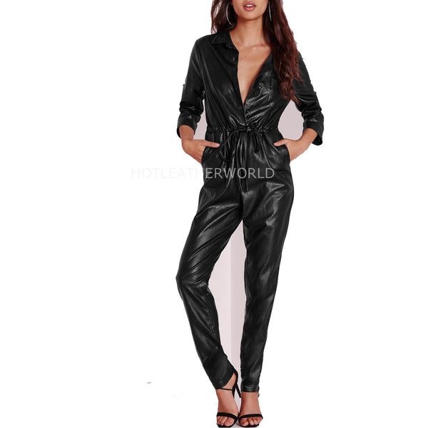 Autumn Special Women Leather Jumpsuit