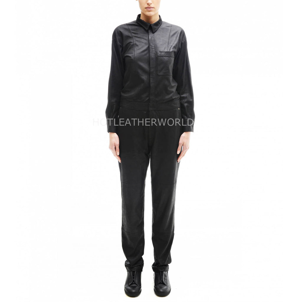 Shirt Collar Class Women Leather Jumpsuit