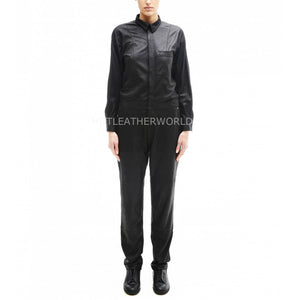 Shirt Collar Class Women Leather Jumpsuit -  HOTLEATHERWORLD