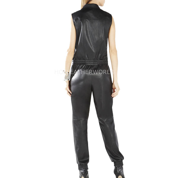 Sleeveless Women Leather Designer Jumpsuit -  HOTLEATHERWORLD