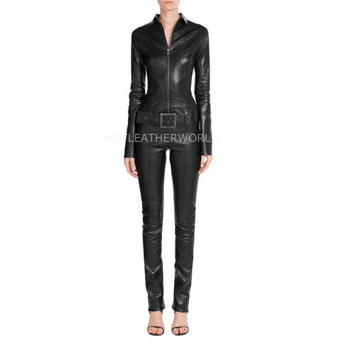 Elegant Style Women Leather Jumpsuit