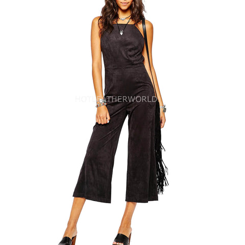Capri Length Women Suede Leather Jumpsuit -  HOTLEATHERWORLD