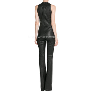 Deep V Neck Women Leather Jumpsuit -  HOTLEATHERWORLD