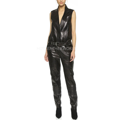 Rider Style Women Leather Jumpsuit