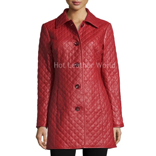 Quilted Leather Coat For Women -  HOTLEATHERWORLD