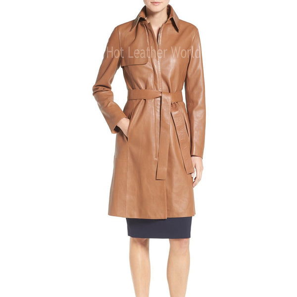 Single Breasted Leather Trench Coat