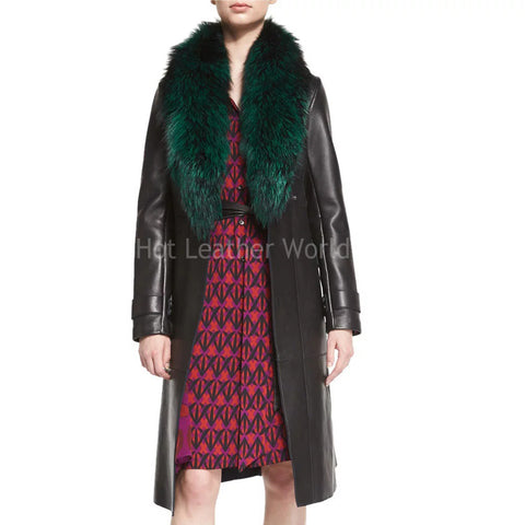 Leather Trench Coat With Fur Collar -  HOTLEATHERWORLD