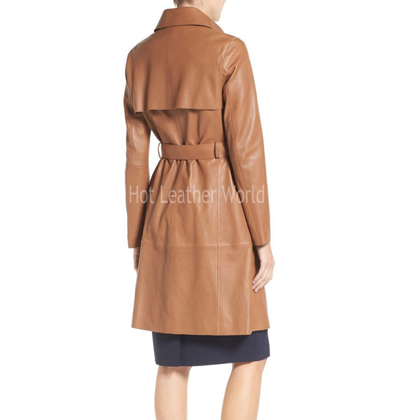 Single Breasted Leather Trench Coat -  HOTLEATHERWORLD