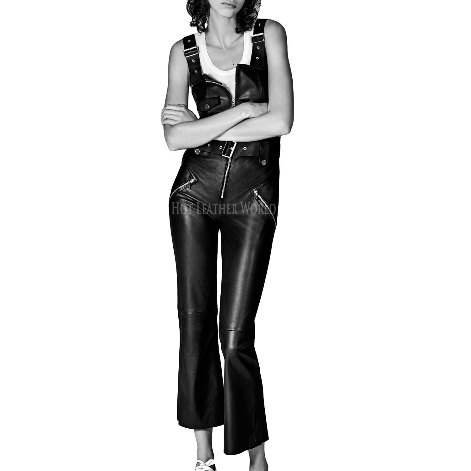 Biker Style Leather Jumpsuit For Women -  HOTLEATHERWORLD