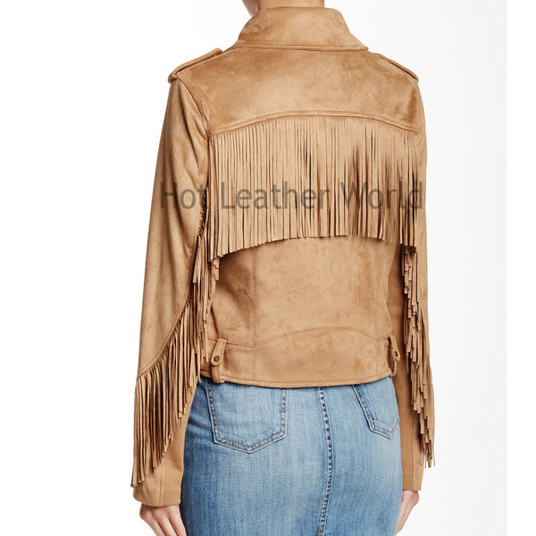 Suede Leather Fringe Jacket -  HOTLEATHERWORLD