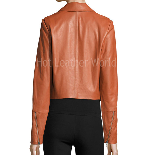 Cropped  Leather Jacket For Women -  HOTLEATHERWORLD