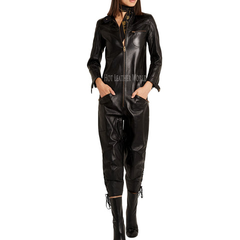Lace-up leather jumpsuit For Women
