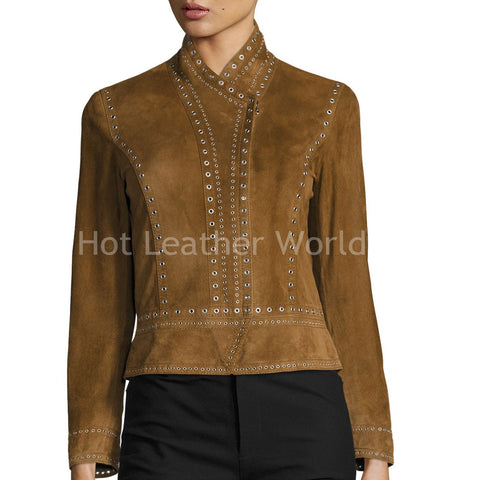 Cropped Studded Suede Military Jacket