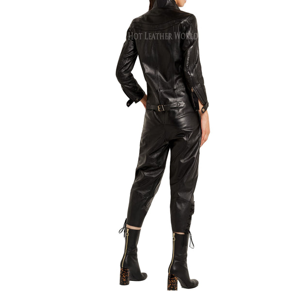 Lace-up leather jumpsuit For Women -  HOTLEATHERWORLD