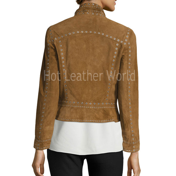 Cropped Studded Suede Military Jacket -  HOTLEATHERWORLD