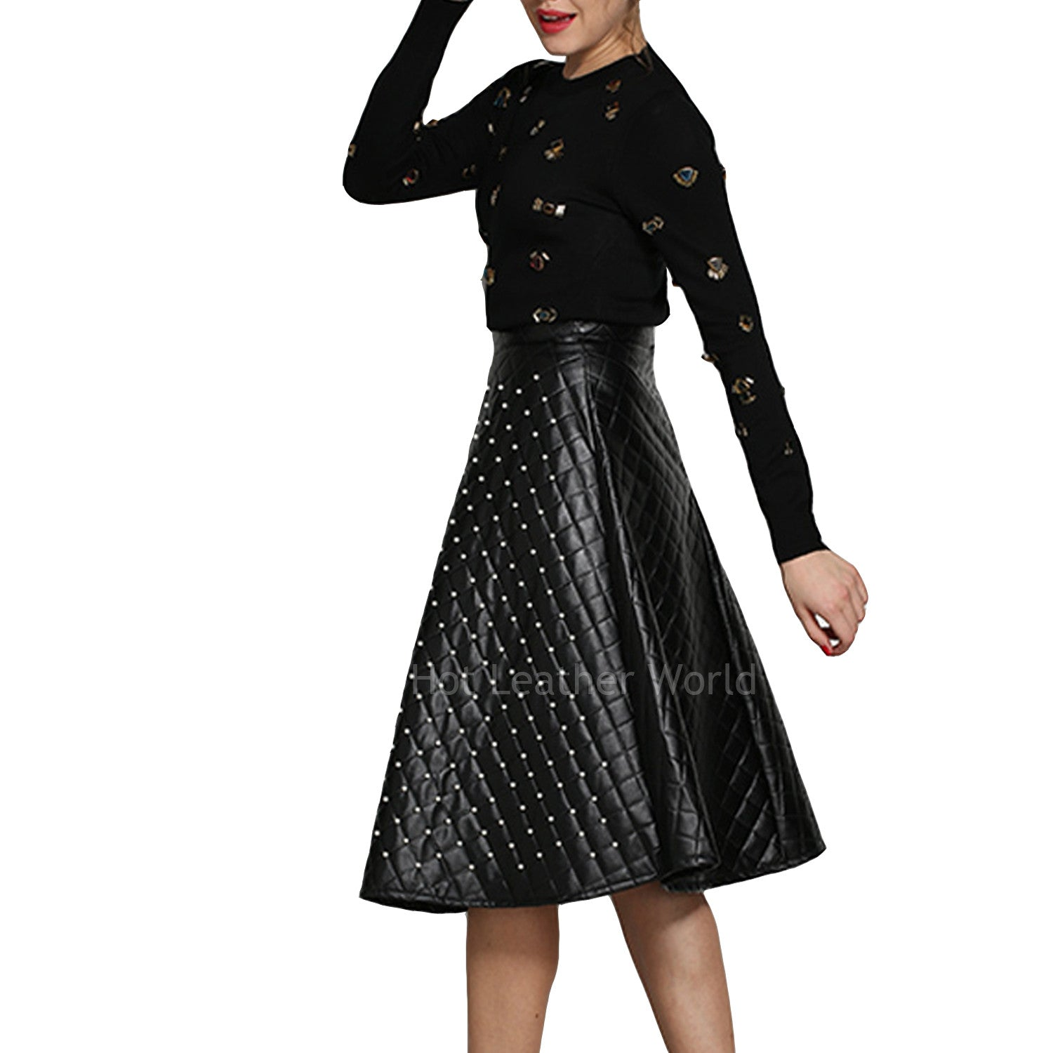 Quilted Style Flared Leather Skirt -  HOTLEATHERWORLD