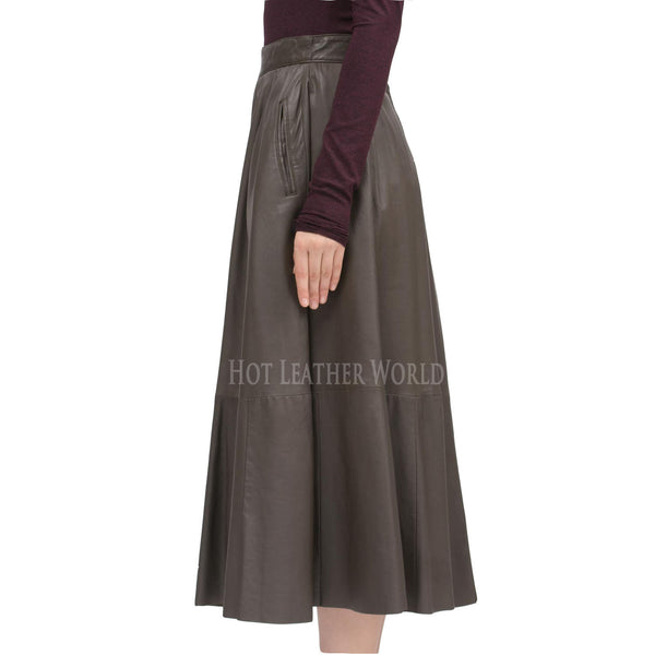 Long Flared Grey Leather Skirt