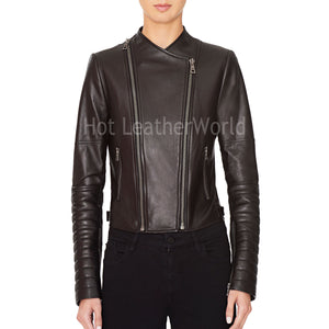 Embroidered Leather Biker Jacket -  HOTLEATHERWORLD