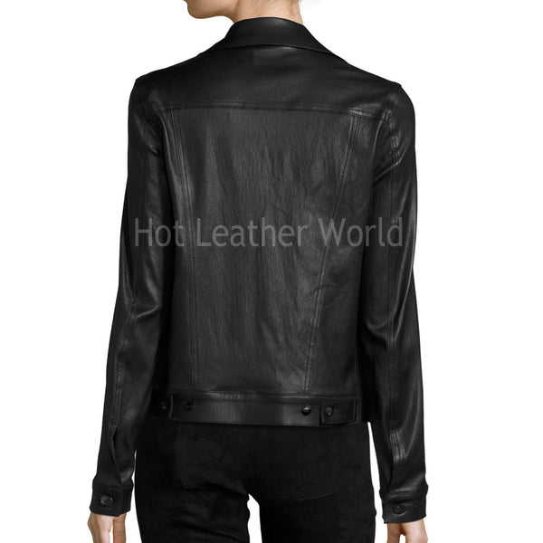 Black Lambskin Leather Jacket -  HOTLEATHERWORLD