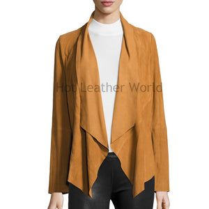 Draped Suede Jacket For Women -  HOTLEATHERWORLD