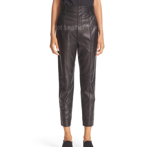 Leather Ankle Pants For Women -  HOTLEATHERWORLD