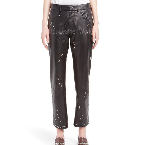 Staple Detail Leather Pants For Women -  HOTLEATHERWORLD