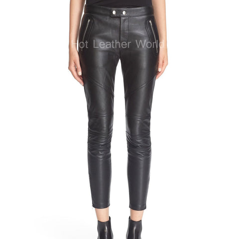 Leather Cropped Pants For Women