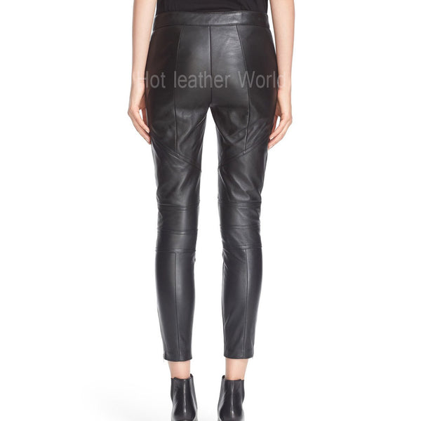 Leather Cropped Pants For Women -  HOTLEATHERWORLD