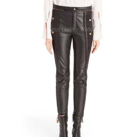 Suede And Lamb Leather Biker Pants