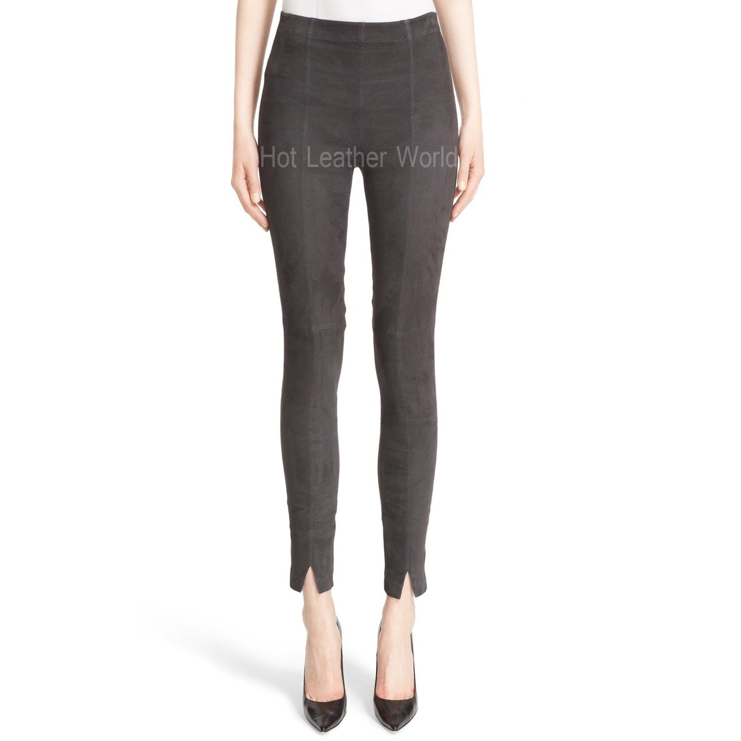 Suede Crop Leggings For Women -  HOTLEATHERWORLD