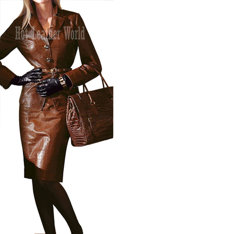 Crocodile Embossed Leather Women Coat -  HOTLEATHERWORLD