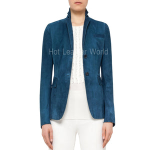 Two Button Suede Blazer For Women -  HOTLEATHERWORLD