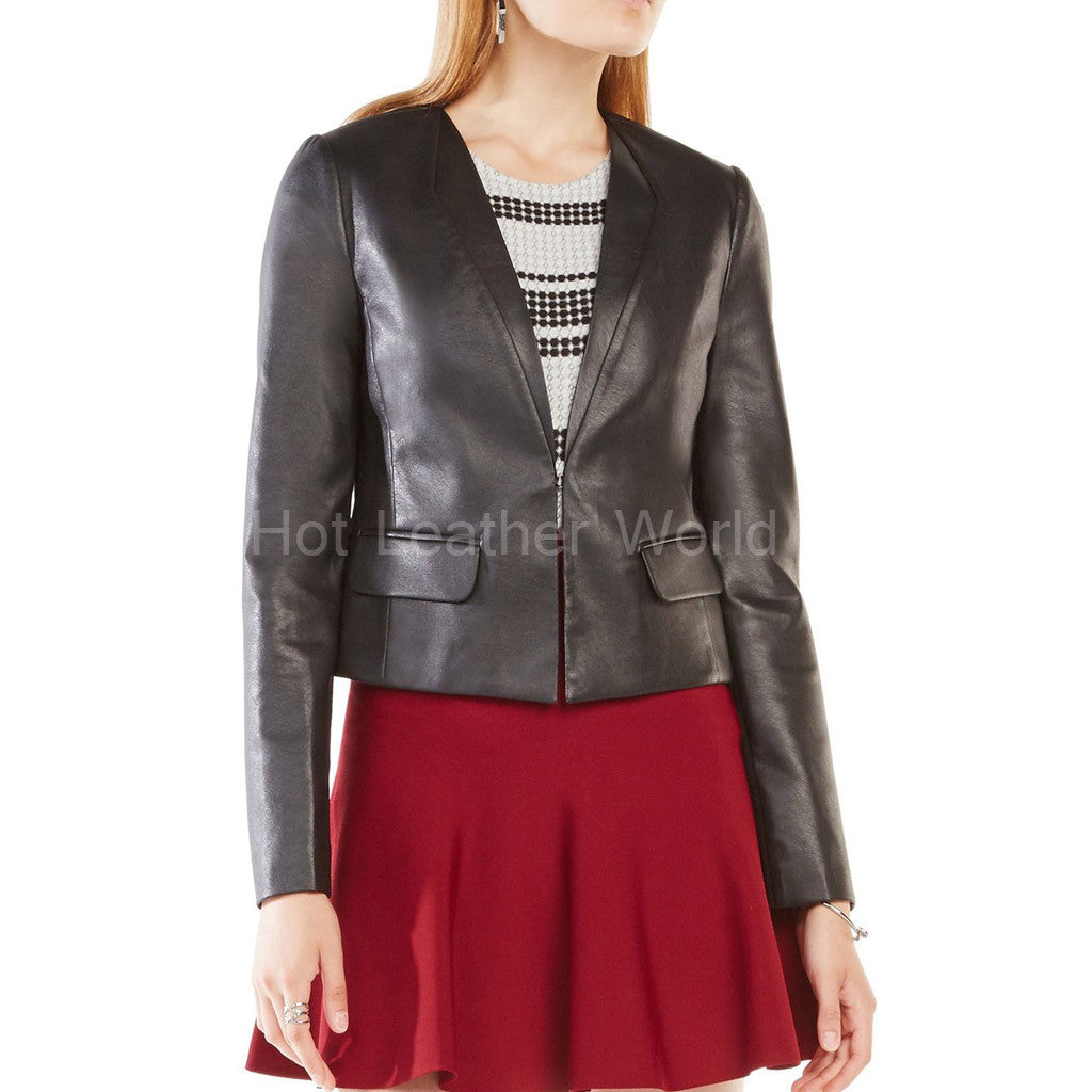 Plunging V-neck  Leather Blazer -  HOTLEATHERWORLD
