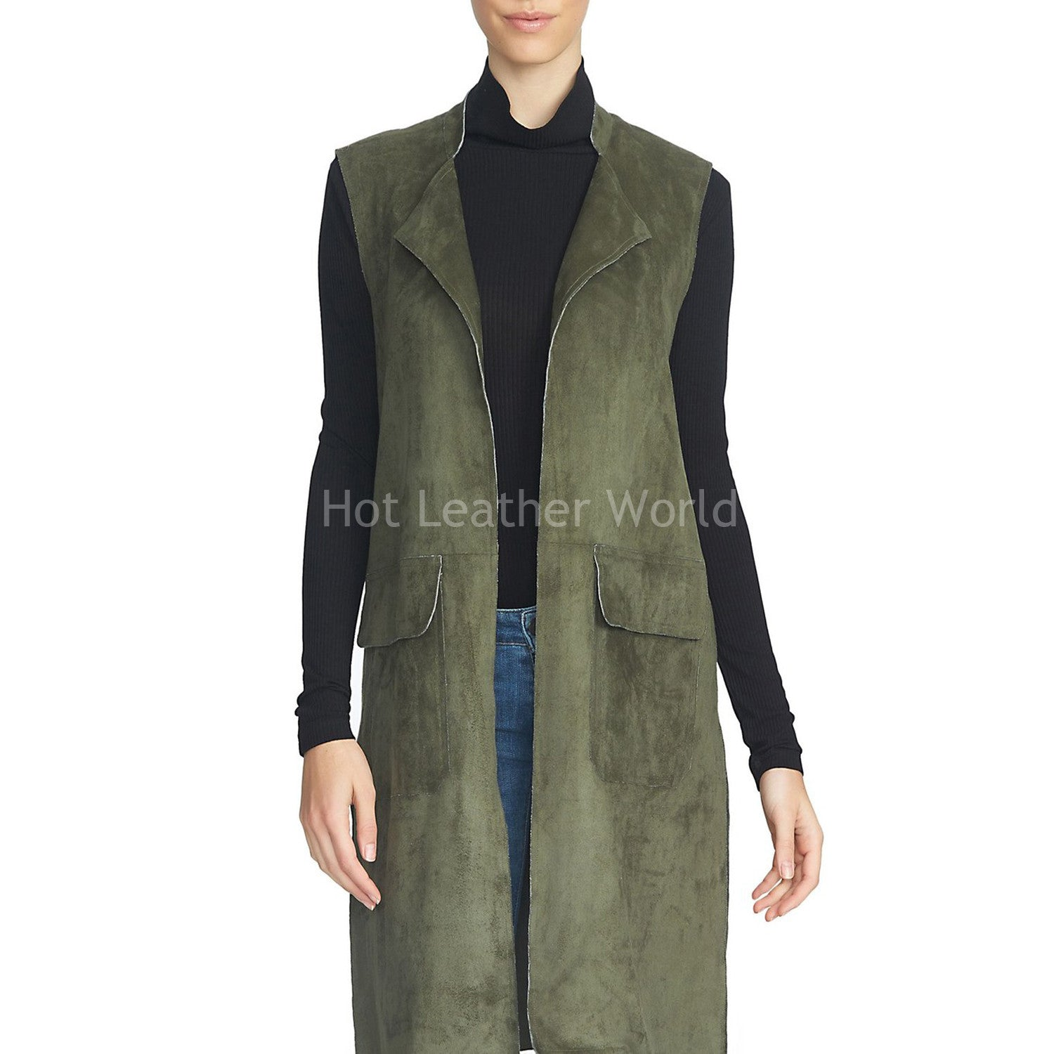 Sleeveless Style Leather Coat -  HOTLEATHERWORLD
